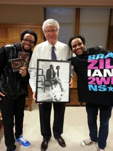Brazilian twins with UNI President ben allen
