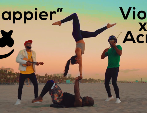 "Marshmello ""Happier"" Electric Violin x Acro Yoga Santa Monica Beach"